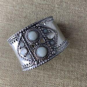 Lucky Brand Jeweled Silver Cuff Bracelet Boho